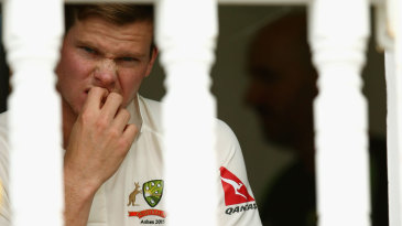 Steven Smith waits for his turn to bat