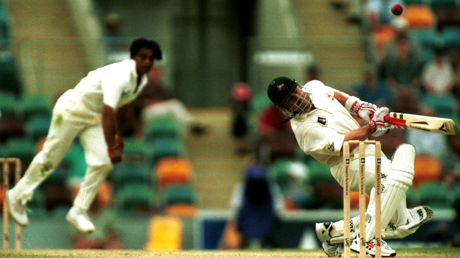 Michael Slater is felled by a Shoaib Akhtar bouncer