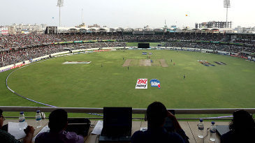 A view of the game from the Shere Bangla Stadium press box