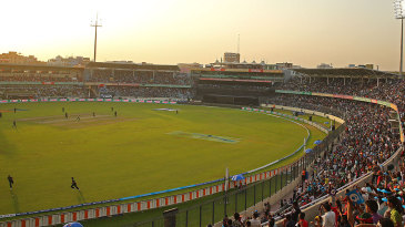 Fans throng the Shere Bangla Stadium as the lights take effect