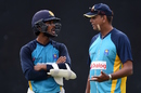 Dinesh Chandimal chats with Sri Lanka head coach Jerome Jayaratne, Pallekele, November 6, 2015