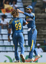 Lasith Malinga is congratulated by Dinesh Chandimal for the wicket of Jermaine Blackwood, Sri Lanka v West Indies, 3rd ODI, Pallekele, November 7, 2015