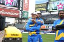 Sachin Tendulkar gets some pre-game love from new team-mate Shoaib Akhtar, Sachin's Blasters v Warne's Warriors, Cricket All-Stars Series, 1st T20, New York, November 7, 2015