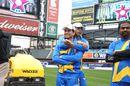 Sachin Tendulkar gets some pre-game love from new team-mate Shoaib Akhtar, Sachin's Blasters v Warne's Warriors, Cricket All-Stars Series, 1st T20, New York, November 7, 2015