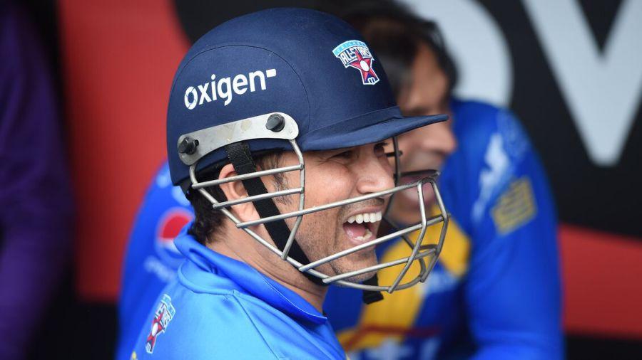 Sachin Tendulkar is all smiles as he prepares to bat at Citi Field