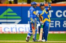 Virender Sehwag and Sachin Tendulkar share a lighter moment, Sachin's Blasters v Warne's Warriors, Cricket All-Stars Series, 1st T20, New York, November 7, 2015