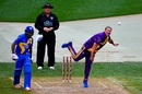 Shane Warne lets one rip, Sachin's Blasters v Warne's Warriors, Cricket All-Stars Series, 1st T20, New York, November 7, 2015
