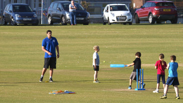 Kids play cricket in Cornwall