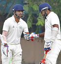 Wasim Jaffer taps his glove with Faiz Fazal after getting to 10,000 runs in Ranji Trophy, Bengal v Vidarbha, Ranji Trophy 2015-16, Group A, 2nd day, Kolkata, November 8, 2015