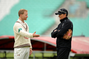 Surrey captain Gareth Batty (left) talks to coach Graham Ford, Surrey v Lancashire, The Oval, May 31, 2015