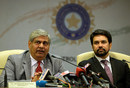 BCCI president Shashank Manohar and secretary Anurag Thakur attend a press conference after the board's annual general meeting, Mumbai, November 9, 2015