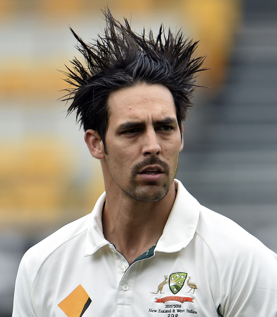 Product plus sweat plus wind give Mitchell Johnson the porcupine