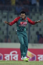 Arafat Sunny celebrates after dismissing Regis Chakabva, Bangladesh v Zimbabwe, 2nd ODI, Mirpur, November 9, 2015