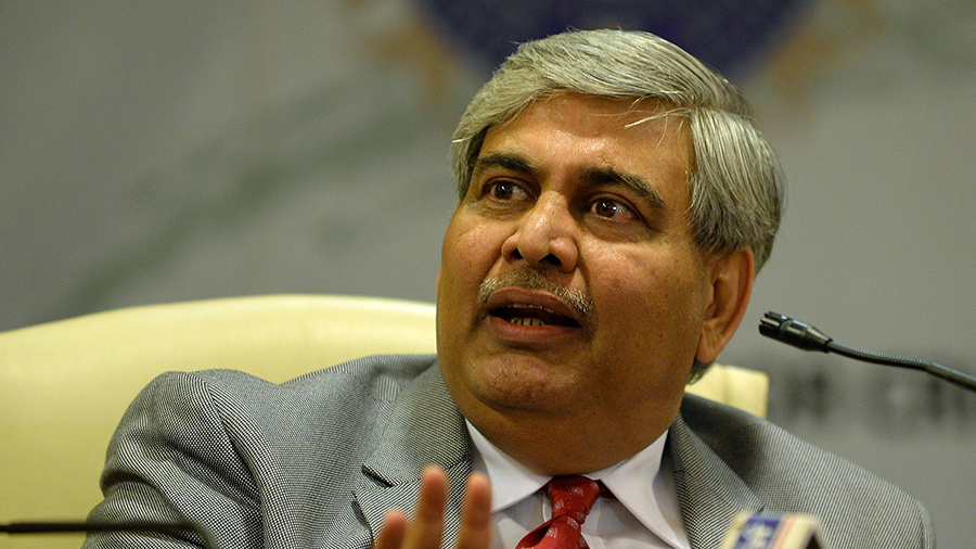 BCCI president Shashank Manohar talks to the media during a press conference