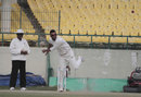 Bipul Sharma sends down a delivery, Himachal Pradesh v Services, Ranji Trophy 2015-16, Group C, 3rd day, November 9, 2015