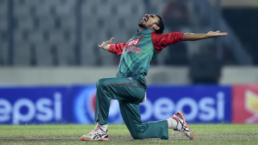 Nasir Hossain is pumped after trapping Craig Ervine lbw