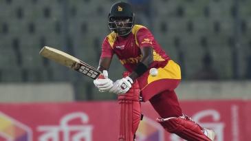 Elton Chigumbura plays through the leg side during his innings of 45