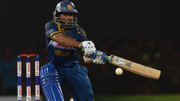 Tillakaratne Dilshan plays a switch-hit during his knock of 52
