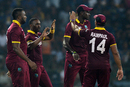 Dwayne Bravo celebrates a wicket with his team-mates, Sri Lanka v West Indies, 2nd T20I, Colombo, November 11, 2015