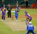 Glenn McGrath bowls to his compatriot Matthew Hayden, Sachin's Blasters v Warne's Warriors, 2nd T20, Houston, November 11, 2015