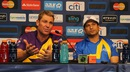Shane Warne and Sachin Tendulkar at the post-match press conference, Sachin's Blasters v Warne's Warriors, 2nd T20, Houston, November 11, 2015