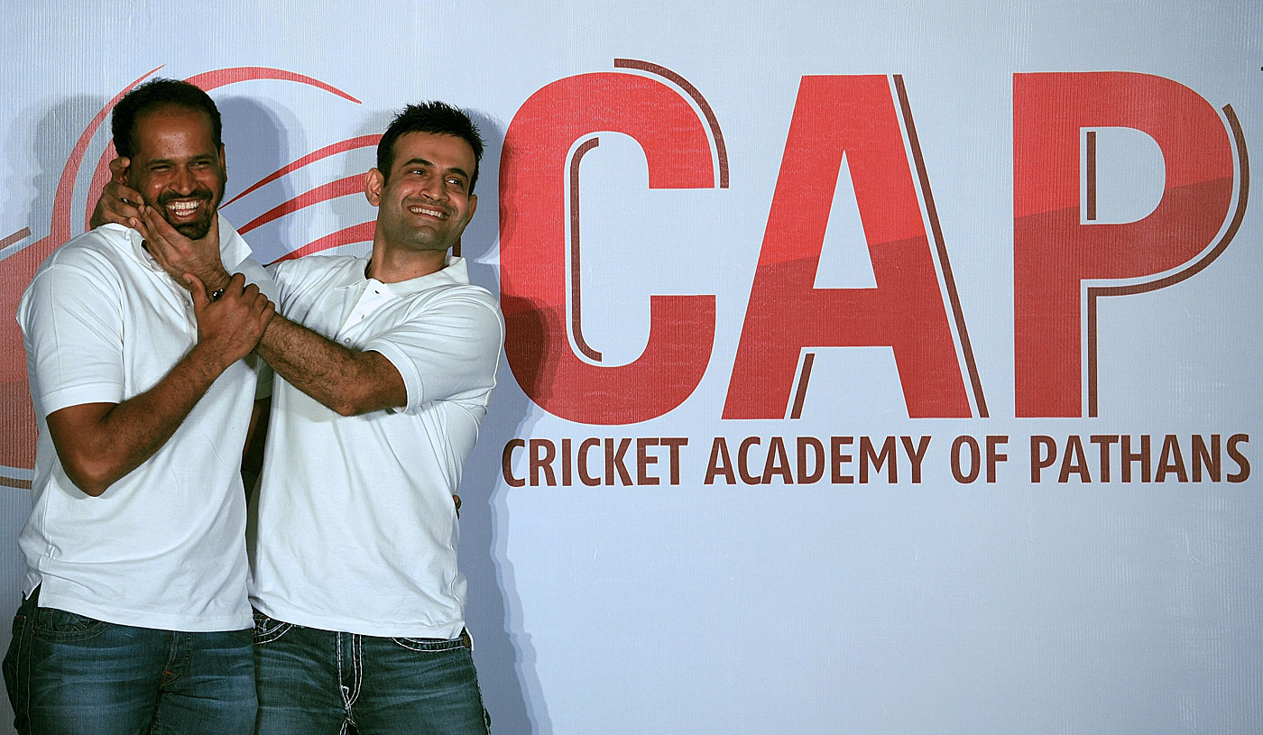 Yusuf Pathan and Irfan Pathan get playful during the launch of their academy