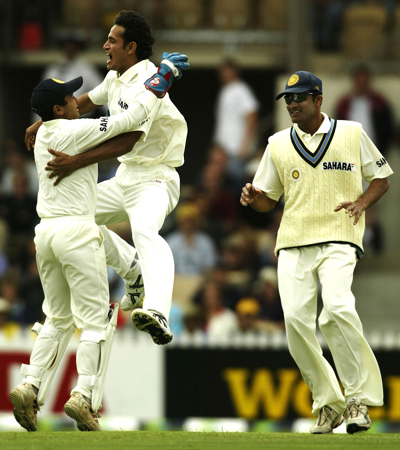 That was easy: Irfan Pathan, only 19, struck with his third ball in Test cricket, sending back