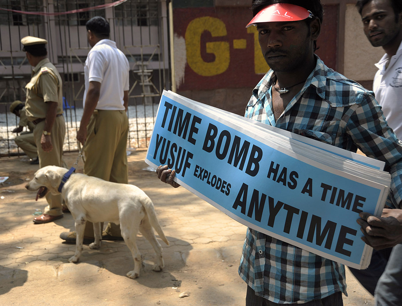 Boom boom: a placard tells of how dangerous Yusuf can be as a batsman, on his day
