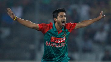 Debutant Jubair Hossain gets the first of two wickets in an over