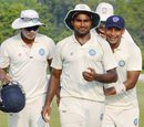 Rahul Shukla is congratulated by team-mates after finishing with a six-for, Tripura v Jharkhand, Group C, Ranji Trophy 2015-16, Agartala, 1st day, November 15, 2015