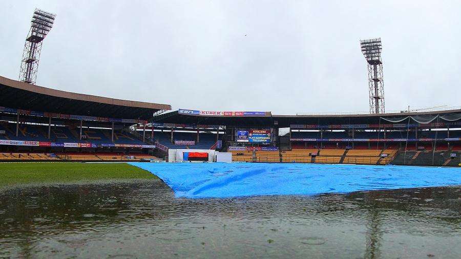 Cyclonic rains continued to hound the Chinnaswamy Stadium