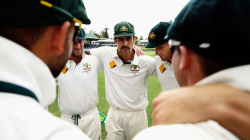 Mitchell Johnson in the Australian huddle in his final Test