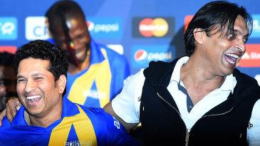 Sachin Tendulkar and Shoaib Akhtar at the All-Stars launch in New York