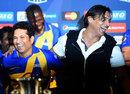 Sachin Tendulkar and Shoaib Akhtar at the All-Stars launch in New York, New York City, November 5, 2015