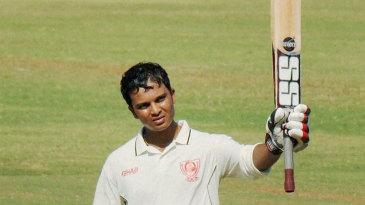 Saurabh Wakaskar celebrates his fifth first-class hundred