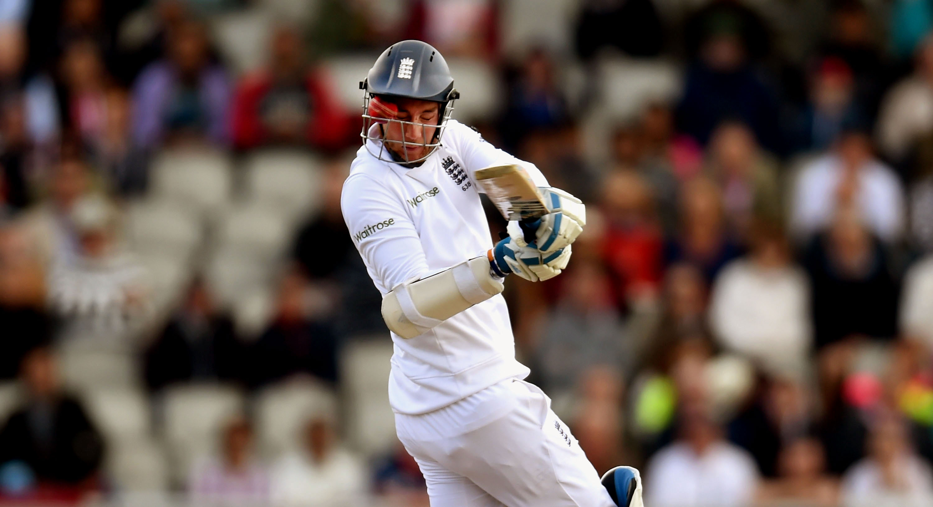 Stuart Broad was struck on the nose by a Varun Aaron bouncer