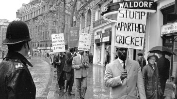 Anti-apartheid demonstrators gather in London in 1965