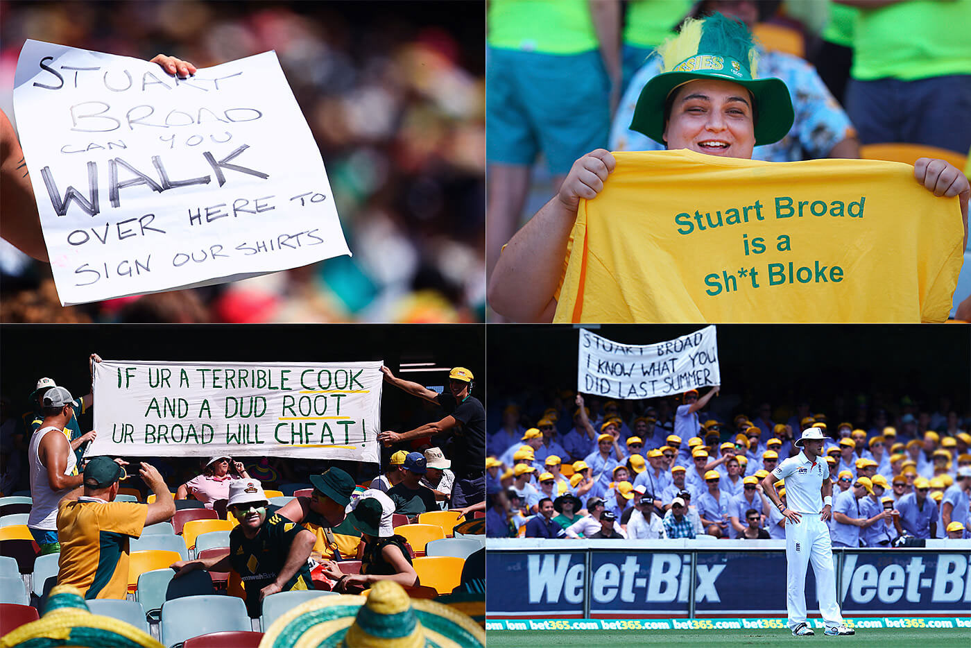 In the 2013-14 Ashes, Australian crowds went to lengths to make their feelings towards Broad known, fuelled in particular by his refusal to walk at Trent Bridge a few months earlier