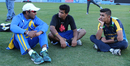 Mahela Jayawardene discusses strategy with former USA U-19 players Vibhav Altekar and Arsh Buch, Cricket All-Stars, Los Angeles, November 13, 2015
