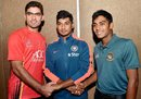 Captains Ihsanullah Janat, Ricky Bhui and Mehedi Hasan shake hands before the start of the tournament, Tri-Nation Under-19s Tournament, Kolkata, November 19, 2015