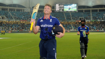 Jos Buttler leaves the field after his rollicking hundred