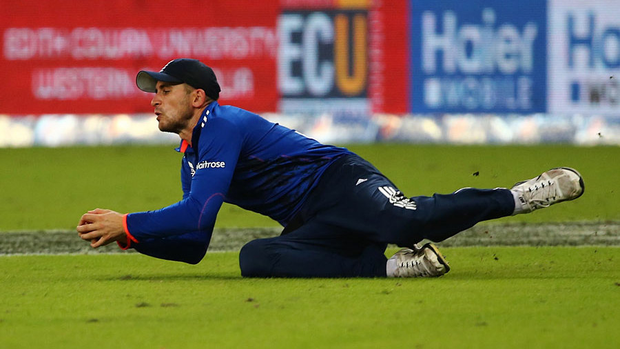 Alex Hales took a stunning catch, diving forward after running in from the deep, to remove Shoaib Malik
