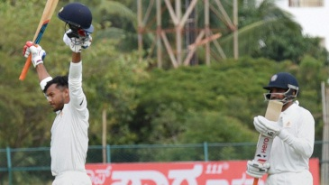 Mayank Agarwal celebrates his maiden first-class century
