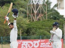 Mayank Agarwal celebrates his maiden first-class century, Karnataka v Delhi, Group A, Ranji Trophy 2015-16, Hubli, 1st day, November 23, 2015