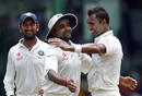 Amit Mishra celebrates a Sri Lankan wicket with Stuart Binny, Sri Lanka v India, 3rd Test, SSC, Colombo, 3rd day, August 30, 2015