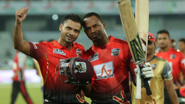 Mashrafe Mortaza and Marlon Samuels celebrate after taking Comilla Victorians home