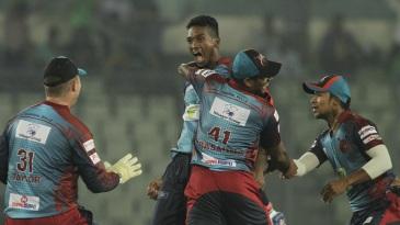 Al-Amin Hossain roars after taking a hat-trick
