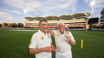 Len Pascoe and Barry Richards at a re-enactment of the first ball bowled under lights