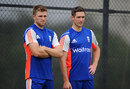 David Willey and Chris Woakes during England's final training session before the T20 series, Dubai, November 25, 2015