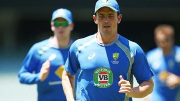 Steve O'Keefe jogs at Australia's training session